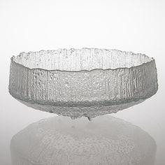 "TAPIO WIRKKALA - Glass bowl ""Ultima Thule"" series (diam. 36 cm) for Iittala, Finland. Glass Design, Design Art, Finland, Decorative Bowls, Heart, Tableware, Home Decor, Dinnerware, Decoration Home"