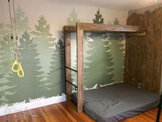 DIY Forest Mural (great for a boy's room!) I've spent most of my adult life in the no-murals-ever camp. I didn't want anything too themed because I knew I'd get tired of it and want t. - More Like Home: DIY Forest Mural (great for a boy's room! Bedroom Themes, Kids Bedroom, Bedroom Decor, Lego Bedroom, Chambre Nolan, Woodland Room, Forest Bedroom, Forest Mural, Boys Room Decor