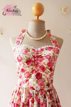 Romantic Floral Dress / Vintage Party Dress / Floral by Amordress