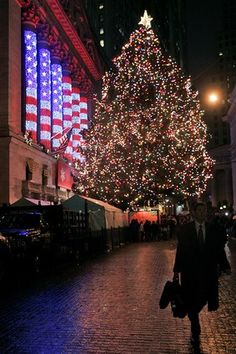 Christmas tree at the New York Stock Exchange on Broad Street in New York. The tree at the NYSE has been a tradition for 85 years.
