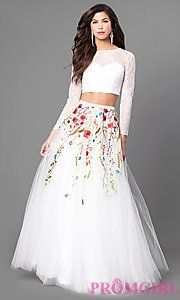 Two-Piece A-Line Prom Dress with Long Sleeves
