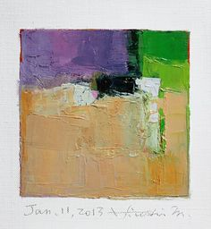 Jan. 11, 2013 - Original Abstract Oil Painting - 9x9 painting (9 x 9 cm - app. 4 x 4 inch) with 8 x 10 inch mat. $60.00, via Etsy.