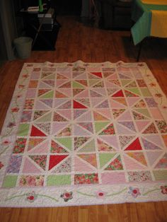 """""""Strawberry Shortcake's Garden"""" from a pattern in Eleanor Burns """"Quilting Through the Seasons"""".  Quilted on my Janome 6600."""