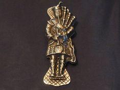 Vintage Brass Highland Piper Door Knocker Scottish Brass Door