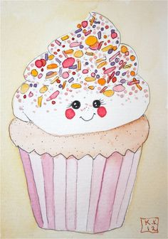 Cute cupcake drawing