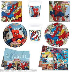 #Marvel ultimate spiderman boys birthday party #tableware plates cups #napkins ,  View more on the LINK: http://www.zeppy.io/product/gb/2/141881435289/