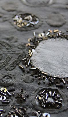 Image Embroidery Fashion, Embroidery Applique, Beaded Embroidery, Embroidery Stitches, Reverse Applique, Textiles Techniques, Textile Fiber Art, Lesage, Pewter Grey