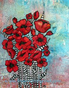 Poppy Whimsy 3 11 x 14 acrylic print by fromvictoryroad on Etsy, $25.00