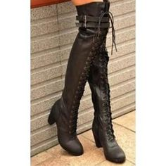 Womens Black Buckle Strap Lace Up Punk  Thigh High Boots
