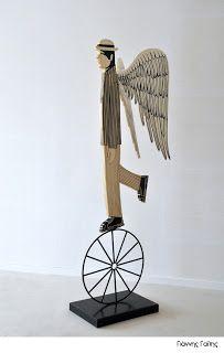 Yiannis Gaitis Greek Art, Love Art, Art Day, Painters, Feathers, Art Projects, Greece, Angeles, Wings
