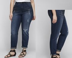 ed03f0c99c4 24 Size Lane Bryant ~Melissa McCarthy~STRAIGHT LEG Jeans Plus Seven7  Distressed  LaneBryant  StraightLeg
