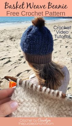 Make this Pretty Basket Weave Beanie, a free crochet pattern featuring regular and Tunisian crochet stitches, includes video on the stitching. #thepurpleponcho #tunisiancrochet #crochethat #crochet Easy Crochet Patterns, Crochet Designs, Free Crochet, Basket Weave Crochet, Basket Weaving, Crochet Hair Accessories, Crochet Hair Styles, Tunisian Crochet Stitches, Crochet Poncho