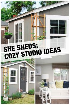 This sophisticated She Shed, installed by The Home Depot, is beautiful inside and out. What started as a standard shed was transformed into a cozy, comfortable backyard studio and quiet retreat. Get everything you need to start your cozy studio She Shed project at The Home Depot.
