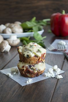 Garden Vegetable and Feta Muffins. #recipe