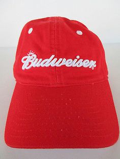 BUDWEISER Red Baseball Cap Hat Adjustable Beer Brewing Bud Brewery King 7dd60bb68