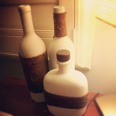 Painted Wine bottles & twine.