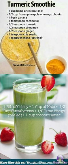 """Gluten free shakes Turmeric Smoothie and Strawberry Kale Shake """"Fight inflammation with these delicious smoothies ingredients! Anti Inflammatory Smoothie List - Vegan - raw - alkaline - paleo - gluten…More Smoothie Curcuma, Turmeric Smoothie, Juice Smoothie, Jamba Juice, Best Smoothie Recipes, Yummy Smoothies, Breakfast Smoothies, Diet Recipes, Juice Recipes"""