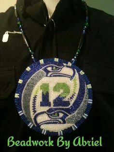 NFL Seattle Seahawks Man Green and Blue Seahawks Fans, Seahawks Football, Native Beadwork, Native American Beadwork, Nfl Seattle, Seattle Seahawks, Beadwork Designs, Mardi Gras Beads, Bead Sewing