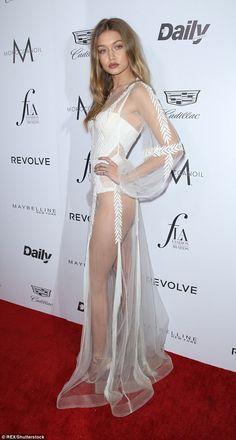 Gigi Hadid stuns in a semi-sheer ensemble at LA Fashion Awards 2016 | Daily Mail Online