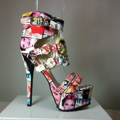 Sandal heels in patent leatherette and newspaper print Sandal Heels, Pump Shoes, Shoes Heels, Heeled Boots, Shoe Boots, Cute Heels, Awesome Shoes, Women's Feet, Open Toe Sandals