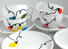 Retro Christmas Light Holiday Cups and Saucers by Mary Elizabeth Arts $ 60.00. I could totally make this with sharpies