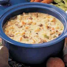 Cheeseburger Soup: ½ pound ground beef ¾ cup chopped onion ¾ cup shredded carrots ¾ cup diced celery 1 teaspoon dried basil 1 teaspoon dried parsley flakes 4 tablespoons butter, divided 3 cups chicken broth 4 cups diced peeled potatoes (1-3/4 pounds) ¼ cup all-purpose flour 12 ounces pepper jack Velveeta 1-1/2 cups milk ¾ teaspoon salt ¼ to ½ teaspoon pepper ¼ cup sour cream