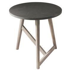Gallery Direct Hamar Faux Concrete and Ash Wood Side Table Living @ HOI Grey Side Table, Round Side Table, End Tables, Occasional Tables, Coffee Tables, Contemporary Side Tables, Contemporary Design, Wood Species, Solid Wood