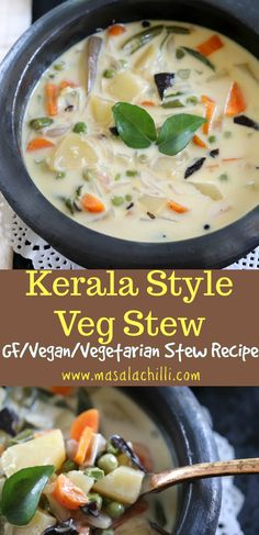 Kerala Style Veg Stew or Ishtew is a thin gravy or broth with vegetables cooked in coconut milk and flavoured with the b Vegetarian Stew, Vegetarian Cooking, Vegetarian Recipes, Veg Soup Recipes, Dinner Recipes, Veg Stew, Vegetable Stew, Vegan Recipes, Vegan