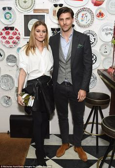Olivia Palermo and Johannes Huebl attend the Oliver Peoples Pour Berluti Launch Celebration at Sant Ambroeus SoHo on March 28, 2017 in New York City