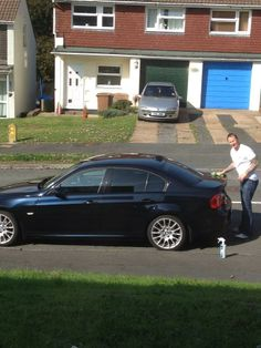 Anne sent us a photo of her husband cleaning his BMW with Showroom Shine
