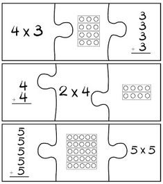 Multiplication Puzzle Game. Love the way this activity concretely LINKS the multiplication expression, with arrays, and addition~Will def practice with the 6-8 ones