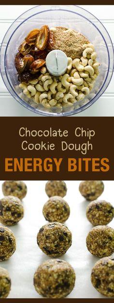 Chocolate Chip Cookie Dough Energy Bites - a healthy snack or dessert - easy recipe - vegan and gluten free   http://VeggiePrimer.com