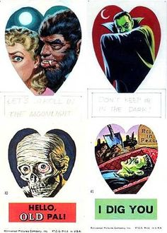 """Frankenstein Valentine Stickers - 1966 The Topps Company, Inc. Artist: Norman Saunders Beauty and the Beast - """"Let's Stroll in the Moonlight"""" Dracula - """"Don't Keep Me in the Dark"""" Mummy- """"Hello, Old Pal!"""" Frankenstein's Monster- """"I Dig You! Creepy Pick Up Lines, Halloween Horror, Happy Halloween, Horror Monsters, Frankenstein's Monster, Pin On, Title Card, Science Fiction Art, Vintage Valentines"""