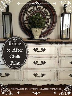 DIY Chalk Paint Dresser Annie Sloan Before  After Weekend Project  http://www.vintagecountrystyle.blogspot.com/