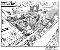 Cityscape in 3-Point Perspective. Bird's Eye View by battlereaper.deviantart.com on @DeviantArt