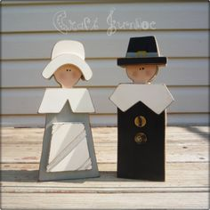 pilgrims made out of wood.  So easy and adorable!