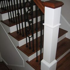 NO WHITE POST!  hickory staircase white riser - Google Search