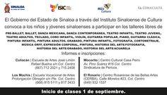 El Gobierno del Estado de Sinaloa a través del ISIC convoca a los niños y jóvenes sinaloenses a participar en los talleres libres.