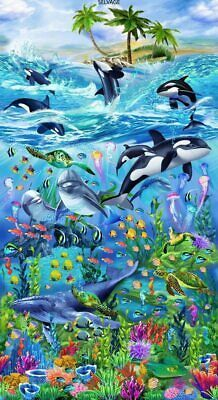 Ocean Life Cotton Fabric Panel A Panel of Cotton Fabric. Sea Life Vacation/Ocean Life panel by Michael Searle for Timeless Treasures. Fabulous sea life panel with orcas, dolphin, whale, turtles, sea horse and fish. Tier Wallpaper, Animal Wallpaper, Dolphins Animal, Dolphin Art, Underwater Art, Wale, Delphine, Sea Art, Sea Life Art