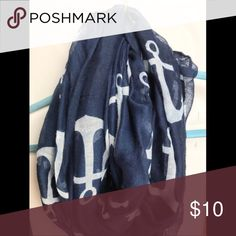 Navy Anchor Scarf Navy with white anchors. Infinity Scarf. Accessories Scarves & Wraps