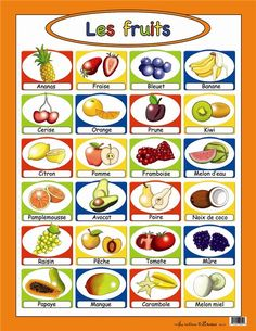 les fruits - point out bleuet is for Quebec, myrtille is for France French Language Lessons, French Language Learning, French Lessons, Learn French Fast, How To Speak French, French Teaching Resources, Teaching French, Food In French, French Practice