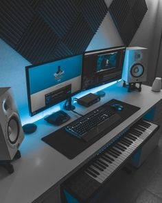 Music Studio Decor, Home Recording Studio Setup, Home Studio Setup, Home Office Setup, Home Studio Music, Home Music Rooms, Music Bedroom, Home Theater Rooms, Gaming Room Setup
