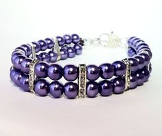 Pucci Purple Pearl Dog Collar, Double Layer, Cat Collar, Purple Pearls, Pearl Dog Collar, Dog Pearls, Dog Necklace, Cat Necklace, SMALL