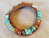Leather Wrap Bracelet - Sundance style turquoise, sponge coral, silver