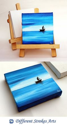 "Mini canvas painting with easel / stand, ocean painting, ""Sailing on Blues"" is an original acrylic painting on a mini canvas. small painting, 6 x 6, Perfect gift for anyone. Price - $30.00 USD #beachpainting #minicanvaspainting #minieasel #giftideas"