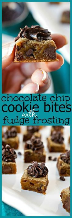 Bite-sized pieces of chocolate chip cookies topped with fudge icing. It's a fun, new way to serve cookies for your parties! And a great alternative too cookie cake.