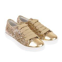 Miss Grant Girls Gold Glitter Trainers 5466295d53b