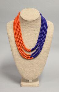 Double Layer Necklace - Orange + Blue