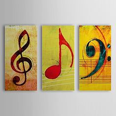 Hand Painted Oil Painting Abstract Music Note with Stretched Frame Set of 3 1310-AB1207 – USD $ 131.59
