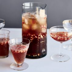 © Fredrika Stjärne  DIY Happy Hour: This sweet-tart punch gets a ton of flavor and a rosy hue from pomegranate juice that's reduced to a syrup with fresh ginger and cardamom. St. Germain elderflower liqueur adds fragrant sweetness.  Recipe: Pomelder...